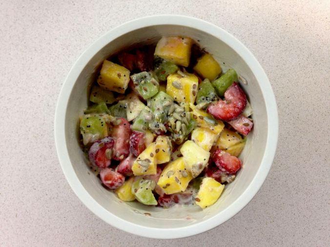 frutas con queso batido